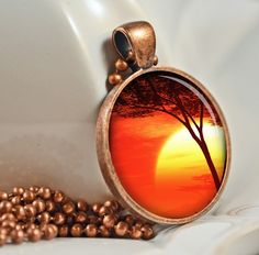 African Sunset Resin Pendant, Picture Pendant, Photo Pendant, Resin Jewelry C15C. $9.50, via Etsy.