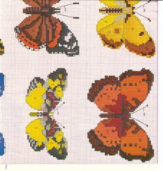 Farfalle 8e Butterfly Cross Stitch, Cross Stitch Bird, Cross Stitch Charts, Cross Stitching, Cross Stitch Embroidery, Cross Stitch Patterns, Crochet Patterns, Minnie Baby, Insect Crafts