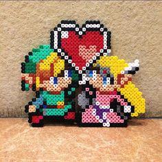 Link and Zelda  perler beads by  8beadz