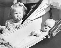 A two year old Princess Beatrix with her younger sister Princess Irene on 4 March 1940