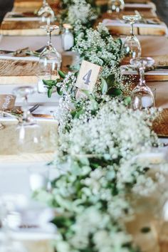 Rustic Table with Greenery Runner | Aline Photography on @SouthBoundBride via @aislesociety