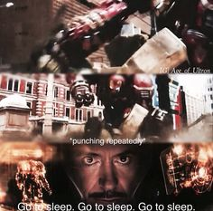 """Go to sleep"" - Iron Mak ((Hahaha poor Bruce)) #Avengers: #AgeOfUltron"