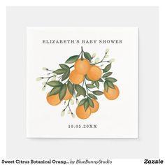 Sweet Citrus Botanical Orange Greenery Shower Napkins Baby Shower Napkins, Baby Shower Parties, Shower Party, Cocktail Party Themes, Wedding Napkins, Wedding Table, Wedding Ceremony, Wedding Hands, Custom Napkins