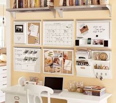 When you are short on desk space, used the wall.  This office space does just that.  What a create use of a very small area yet it seems to lack nothing.  The small size also forces you to keep it organized.
