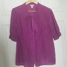 J. Crew plum blouse Short sleeve button-down blouse in a super flattering shade of purple! J. Crew Tops Blouses