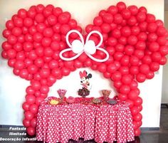 """Minnie Mouse Party ... I could do this myself... but I would use some black balloons for the ears and make a huge PINK BOW instead of this white one shown. Love the Pink and White table cloth... Needs a touch of very shinny black on the table... """"B"""""""