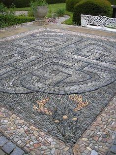 Celtic pebble mosaic, deer mosaic, animal mosaic