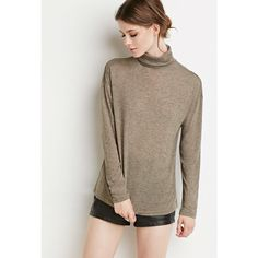 Love 21 Love 21 Women's  Contemporary Marled Turtleneck Top ($13) ❤ liked on Polyvore featuring tops, turtle neck tops, turtleneck tops, love 21, brown turtleneck and brown tops