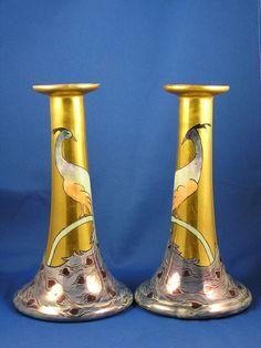 "Bavaria Arts & Crafts Peacock Motif Candlesticks (Signed ""S. Bush""/c.1910-1930)"