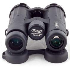 Walther Outlander 10x42 Fernglas mit Dachkant-Optik, drehbaren Okularmuscheln, 10-fach Vergrößerung, 42mm Objektivdurchmesser, 150mm Länge und 640g Gewicht. Inklusive Tasche mit Gürtelschlaufe. Outlander, Binoculars, Self Defense, Lens, Taschen, Weird