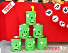 Angry Birds Can Targets - paint or use construction paper to create pigs and target with a ball!