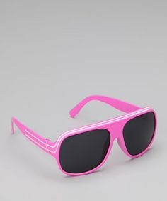 Look at this #zulilyfind! Pink & White Stripe Pilot Sunglasses #zulilyfinds