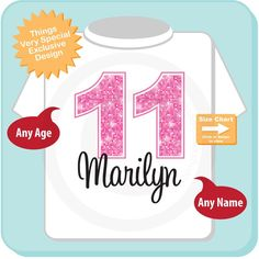 Eleventh Birthday Shirt Pink 11 Any Age Personalized Girls 11th