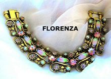 Vintage Florenza Pink / Green / Blue Art Glass Bracelet