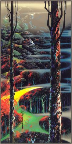 A Touch of Autumn, Eyvind earle. The detail is astonishing. Look up close at all Eyvind earle works. Norman Rockwell, Eyvind Earle, New York City, Magic Realism, Mandala, Lowbrow Art, Art Database, American Artists, Disney Art