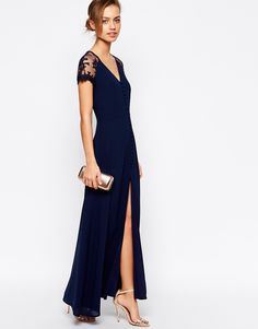 Image 4 ofJarlo Petite Lucia Button Through Maxi Dress With Lace Shoulders