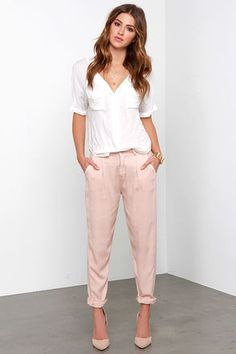 Washed Blush Trouser Pants - Relaxed Trousers - $63.00