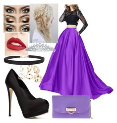 """Purple Prom Dress"" by safia4life ❤ liked on Polyvore featuring Giuseppe Zanotti, Humble Chic, Jouer, Chiara P and Bling Jewelry"