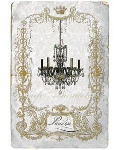 chandelier art prints | French Chandelier Giclee Art Print Parisienne by CafeBaudelaire