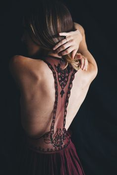 Beaded and burgundy red tones. A romantic evening look inspired by Crimson Peak//