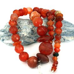 Old Faceted Cut Carnelian & Agate Stone Bead Collection