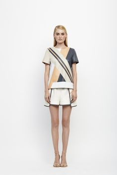 Jonathan Simkhai Spring 14- Leather riot tee and petal sport short with leather detail