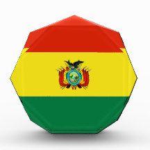 Flag of Bolivia Award flag, nation, banner, award, gift, acrylic, octagon, country, zazzle, smallbiz, ecommerce, dww25921