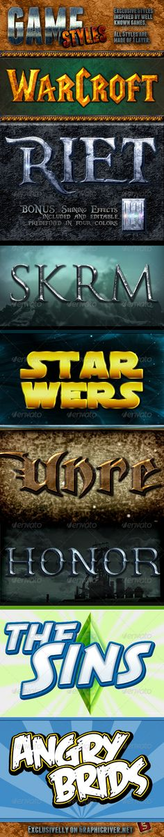 Game Photoshop Styles - Text Effects Styles                                                                                                                                                                                 More