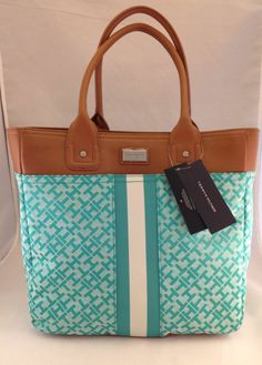 NWT Authentic Tommy Hilfiger Large Green and White Tote Bag