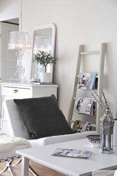 ladder shelf & Bourgie lamp