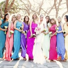 Mismatched bridesmaids look amazing