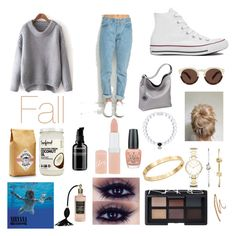 """Fall"" by faith03 ❤ liked on Polyvore featuring Converse, Sydney Love, Illesteva, Everest, FOSSIL, Cachet, NARS Cosmetics, OPI, Rimmel and Grown Alchemist"