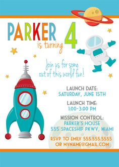 Modern Outer Space Birthday Party Digital Invitation