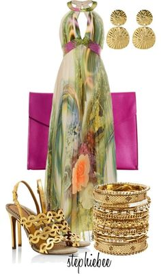 Stylish Eve long multi colored green peach turquoise kind of like a peacock color sundress maxi with gold open toe sandals/heels neon clutch. nice dress for summer or spring wedding or date Estilo Fashion, Fashion Moda, Look Fashion, Fashion Outfits, Womens Fashion, Beautiful Outfits, Cute Outfits, Beautiful Gowns, Mein Style