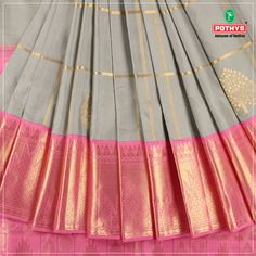 A sophisticated grey #kanchipuram silk#saree with golden work on the borders and weaves redefines class. This ethereal saree is accentuated with unique designs that look elegant. Make heads turn with this flamboyant piece.   #silksaree #elegant #pothys #weavesofindia #silk #kanchipuramsilksarees #silkblouse