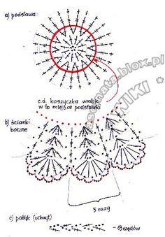 Crochet Doll Pattern, Crochet Chart, Crochet Motif, Crochet Doilies, Easy Crochet, Crochet Vase, Holiday Crochet Patterns, Crochet Storage, Crochet Videos
