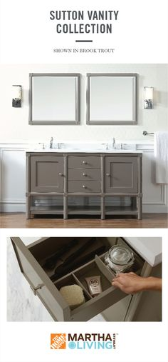 The storage features of the Sutton bath vanity can be customized and will adapt beautifully to any way you want to organize. Use the vanity on its own or as the focal point of a fully designed master bathroom. Learn more about Martha Stewart Living bath vanities, available exclusively at HomeDepot.com.
