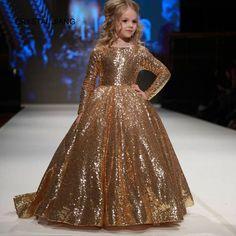 CRYSTAL JIANG 2018 nieuw ontwerp boothals gouden kant lange mouwen baljurk mode bloemenmeisje jurken