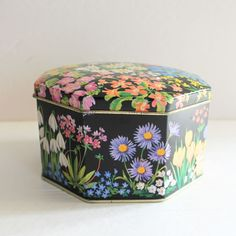 Vintage Floral Tin Metal Metalware Can Candy Flowers Hexagonal Made In England