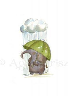 Elephant with Umbrella by Agócs Irisz