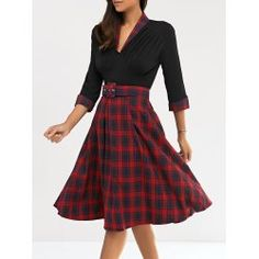 SHARE & Get it FREE | Vintage 3/4 Sleeve V Neck Plaid Knee-Length DressFor Fashion Lovers only:80,000+ Items • FREE SHIPPING Join Twinkledeals: Get YOUR $50 NOW!