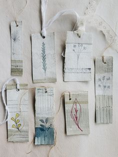 Linen tags for junk journals or gifts Diy And Crafts, Arts And Crafts, Paper Crafts, Handmade Tags, Handmade Crafts, Hang Tags, Tag Art, Textile Art, Altered Art