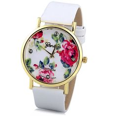 $4.55 Geneva Luxury Quartz Watch with Diamonds Golden Plate Analog Indicate Leather Watch Band Rose Pattern for Women