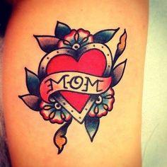 Old school love mom heart shaped tattoo