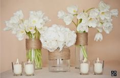 Simple white flowers, twine wrapped vases and tea lights.maybe I can do this with pink flowers? Simple Centerpieces, Wedding Centerpieces, Wedding Decorations, Table Decorations, Wedding Tables, Flower Decorations, Diy Wedding, Rustic Wedding, Wedding Flowers