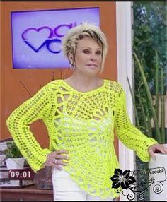 Roberta Crochê e Cia: Ana Maria com Linda Blusa Amarela em Crochê com Gráfico