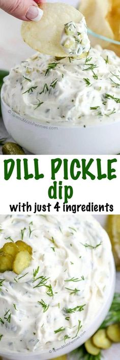 4 Ingredient Dill Pickle Dip I've made this so many times! This Dill Pickle dip is one of our favorites needing only 4 ingredients and 5 minutes! The perfect quick dip for parties and snacks! Appetizer Dips, Yummy Appetizers, Appetizer Recipes, Party Appetizers, Dips Für Chips, Dip Recipes, Cooking Recipes, Cooking Tips, Easy Cooking