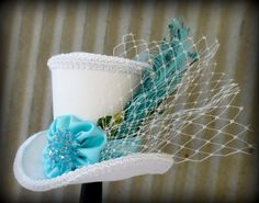 Tiffany Blue, Bird Cage Veil Mini Top Hat, Alice in Wonderland Mini Top Hat, Tea Party Hat, Mad Hatter Hat, Bridal Shower on Etsy, $46.00