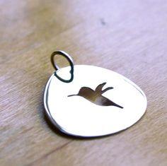 Hummingbird Charm Sterling Silver Cutout by HarvestGoldJewelry