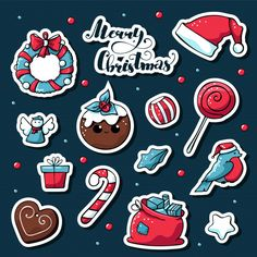 Vector cute doodle christmas stickers with merry christmas lettering. Christmas Stickers, Christmas Cards, Hygge Christmas, Christmas Decorations, Printable Stickers, Planner Stickers, Logo Noel, Doodles Bonitos, Merry Christmas Calligraphy